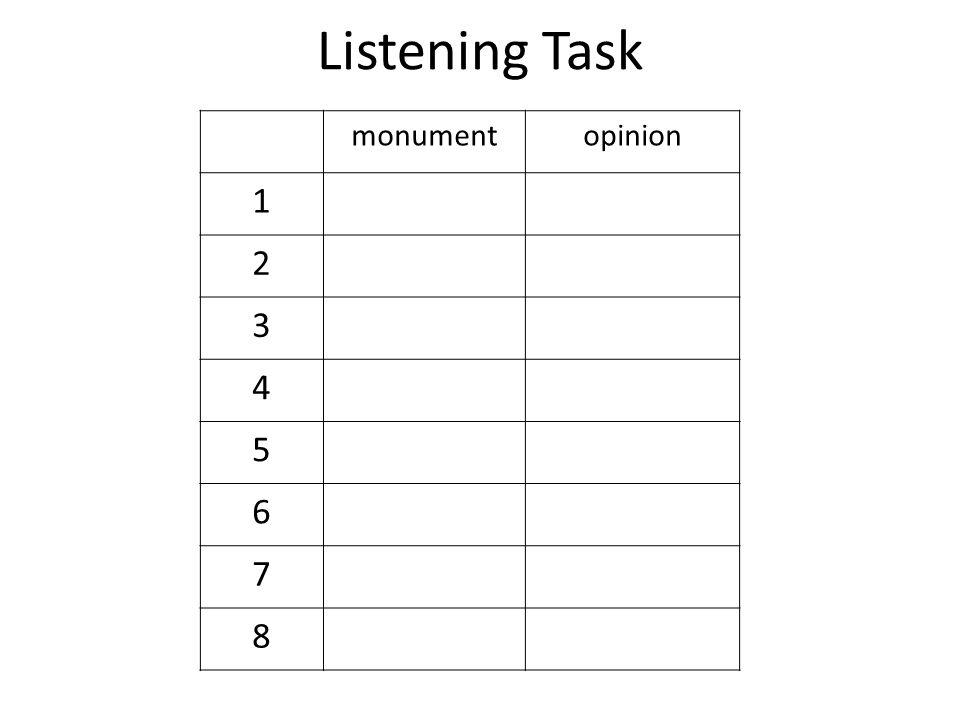 Listening Task monumentopinion 1 2 3 4 5 6 7 8
