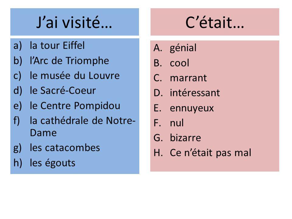 Jai visité… a)la tour Eiffel b)lArc de Triomphe c)le musée du Louvre d)le Sacré-Coeur e)le Centre Pompidou f)la cathédrale de Notre- Dame g)les catacombes h)les égouts A.génial B.cool C.marrant D.intéressant E.ennuyeux F.nul G.bizarre H.Ce nétait pas mal Cétait…