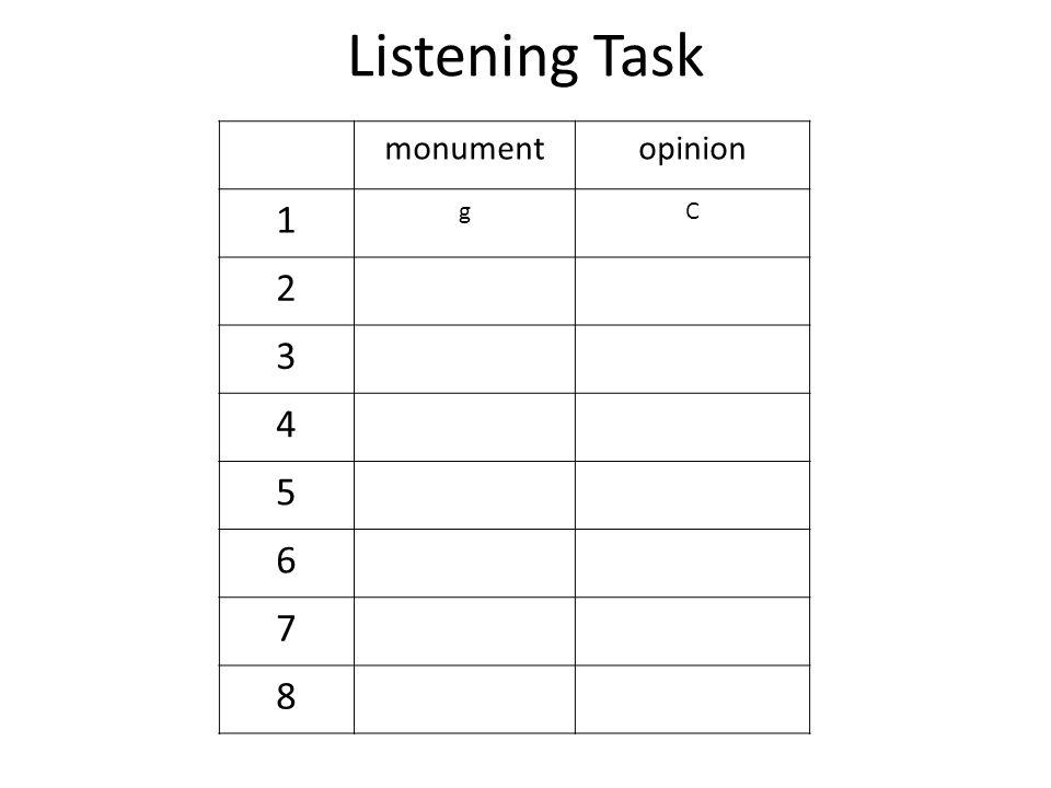Listening Task monumentopinion 1 gC 2 3 4 5 6 7 8
