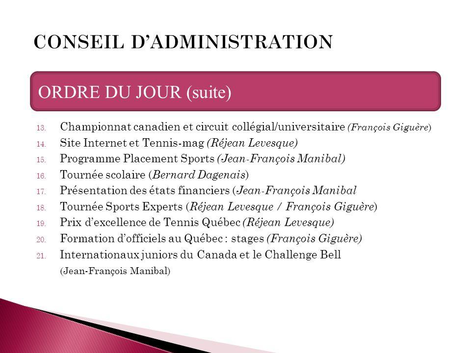 13. Championnat canadien et circuit collégial/universitaire (François Giguère ) 14. Site Internet et Tennis-mag (Réjean Levesque) 15. Programme Placem