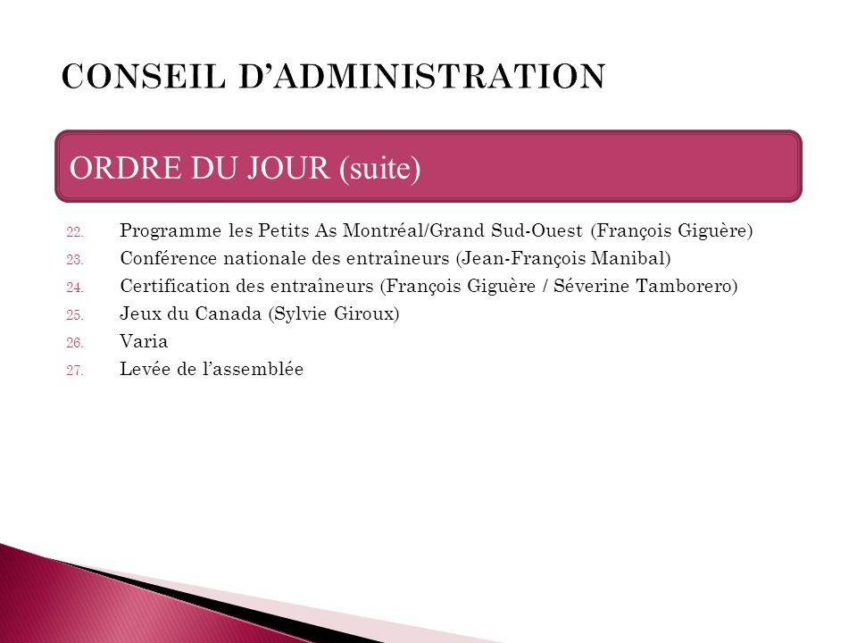 22. Programme les Petits As Montréal/Grand Sud-Ouest (François Giguère) 23. Conférence nationale des entraîneurs (Jean-François Manibal) 24. Certifica