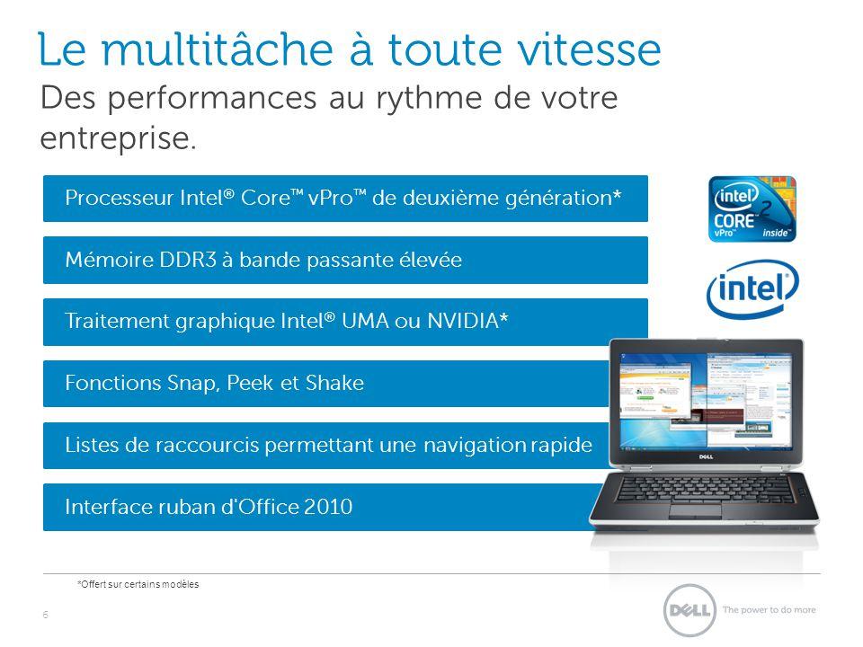 Mémoire DDR3 à bande passante élevée Traitement graphique Intel ® UMA ou NVIDIA* Fonctions Snap, Peek et Shake Listes de raccourcis permettant une navigation rapide Le multitâche à toute vitesse 6 Des performances au rythme de votre entreprise.