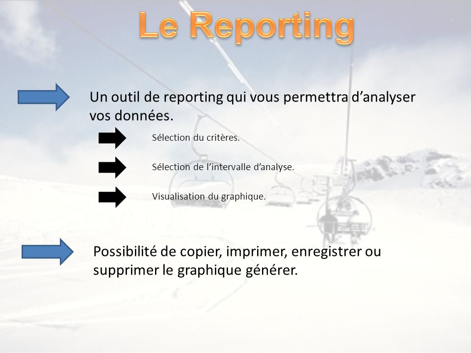 Un outil de reporting qui vous permettra danalyser vos données. Sélection du critères. Sélection de lintervalle danalyse. Visualisation du graphique.