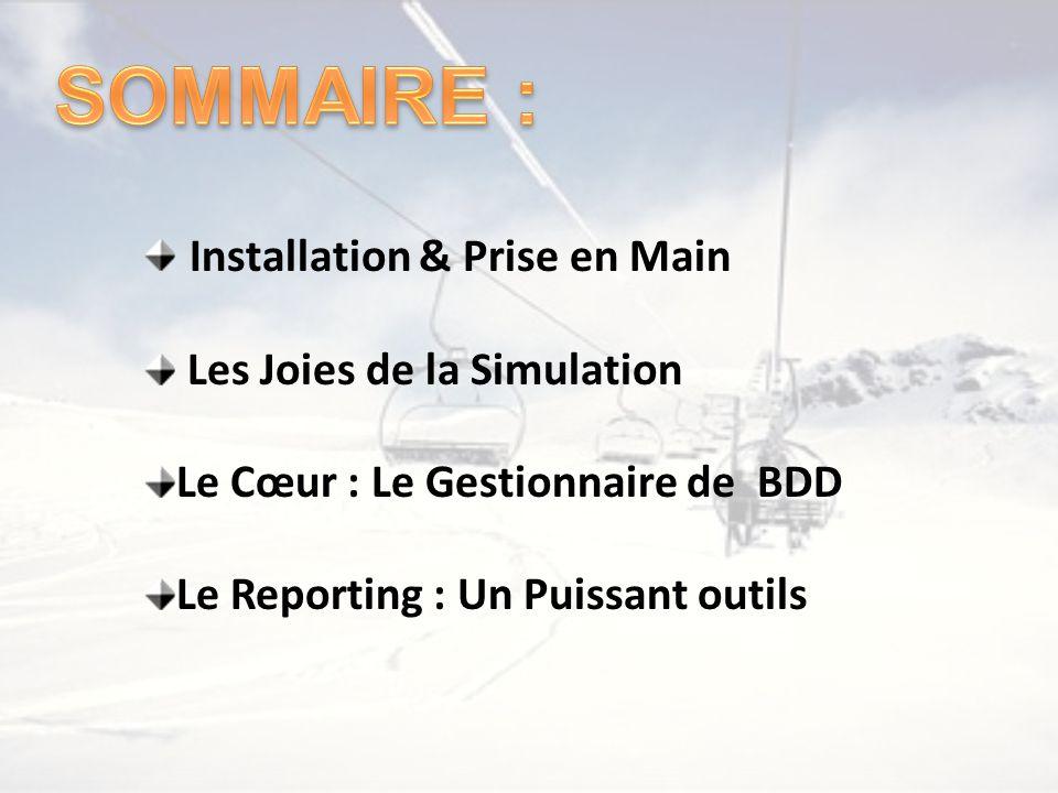 Installation & Prise en Main Les Joies de la Simulation Le Cœur : Le Gestionnaire de BDD Le Reporting : Un Puissant outils