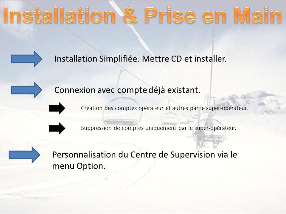 Installation Simplifiée. Mettre CD et installer. Connexion avec compte déjà existant. Personnalisation du Centre de Supervision via le menu Option. Cr