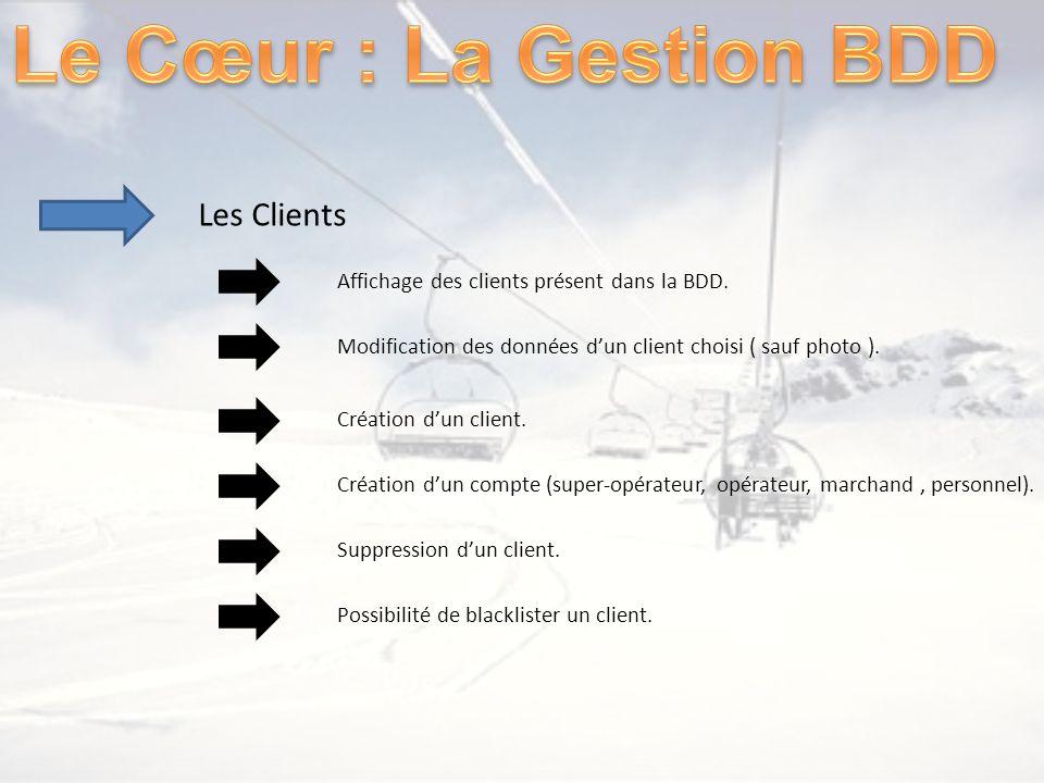 Les Clients Affichage des clients présent dans la BDD. Modification des données dun client choisi ( sauf photo ). Création dun client. Création dun co