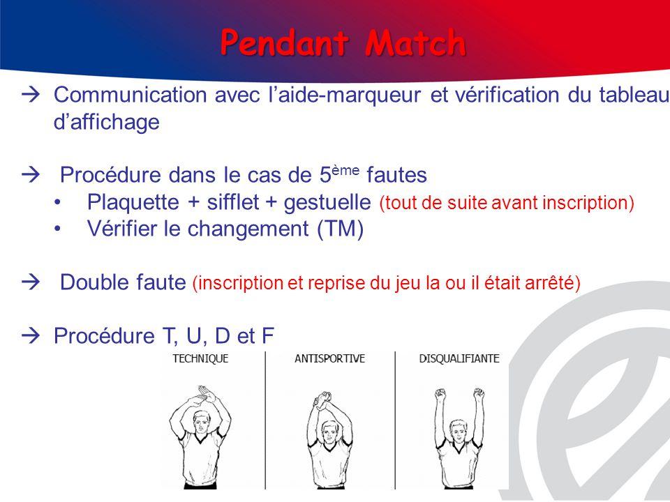 Communication avec laide-marqueur et vérification du tableau daffichage Procédure dans le cas de 5 ème fautes Plaquette + sifflet + gestuelle (tout de