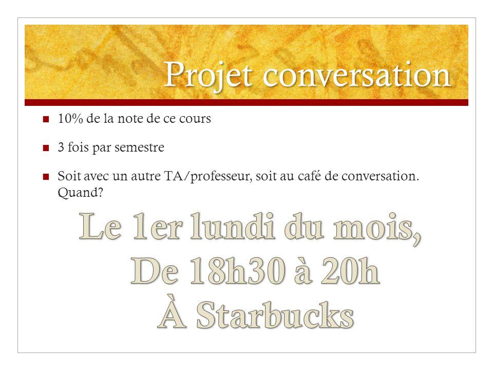 Projet conversation 10% de la note de ce cours 3 fois par semestre Soit avec un autre TA/professeur, soit au café de conversation.