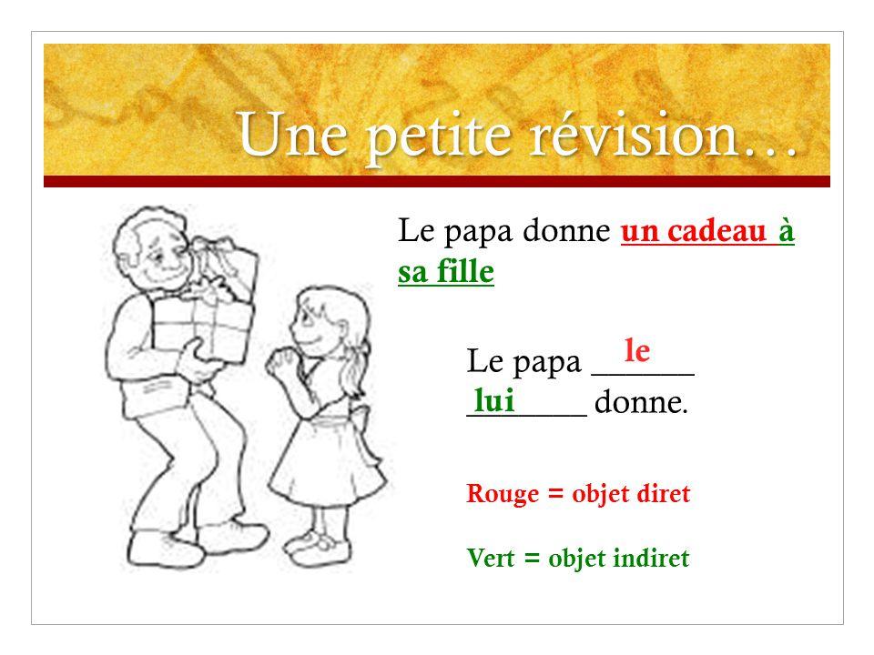 Une petite révision… Le papa donne un cadeau à sa fille Le papa ______ _______ donne.