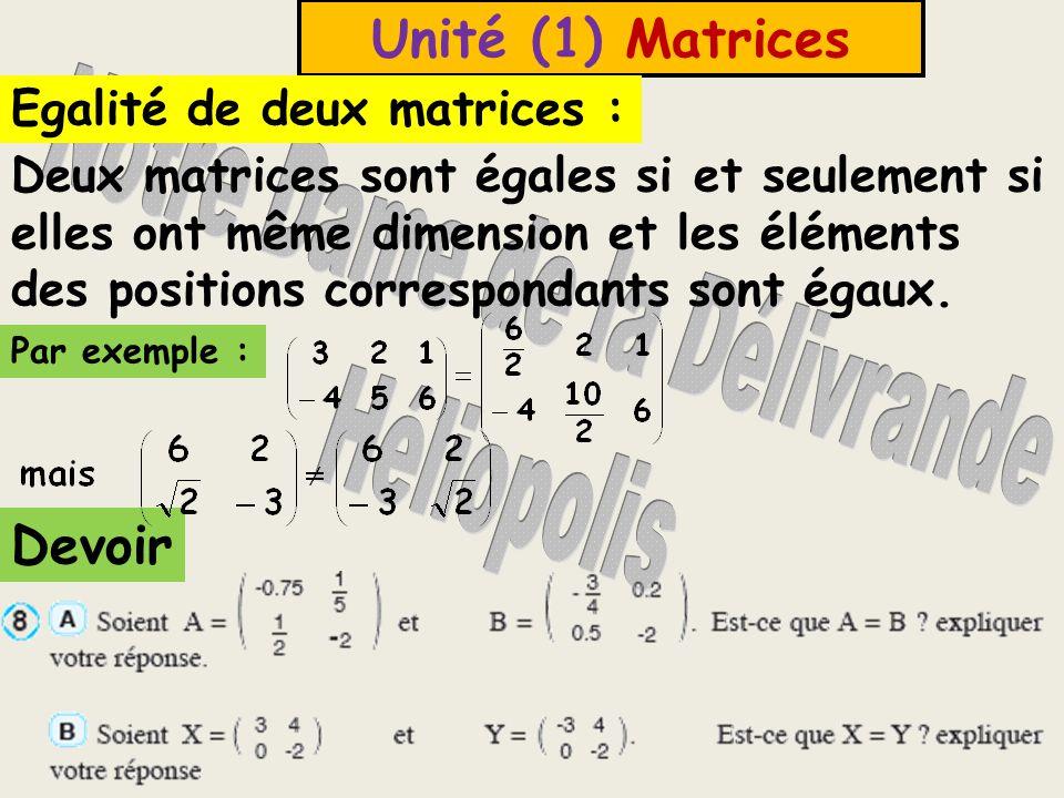 Unité (1) Matrices Exemple (3) : Ecrire le genre et la dimension de chacune des matrices suivantes : Solution : Devoir page (2) n (6 et 7) A est une matrice ligne, sa dimension 1 x 3 B est une matrice unité, sa dimension 3 x 3 C est une matrice diagonale, sa dimension 2 x 2 D est une matrice colonne, sa dimension 3 x 1 X est une matrice nulle, sa dimension 3 x 1