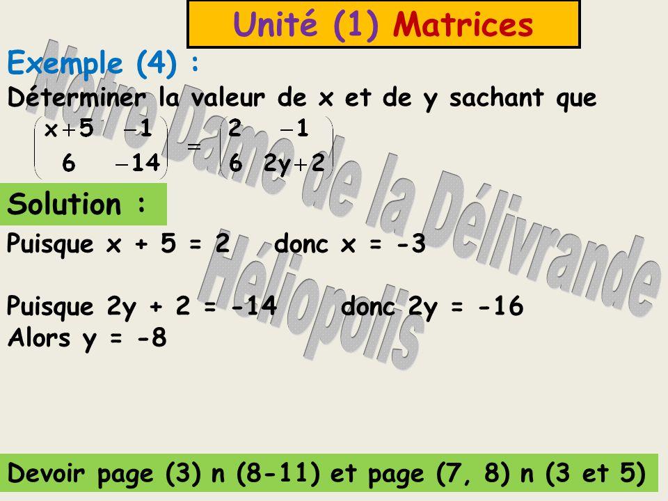 Unité (1) Matrices Deux matrices sont égales si et seulement si elles ont même dimension et les éléments des positions correspondants sont égaux.