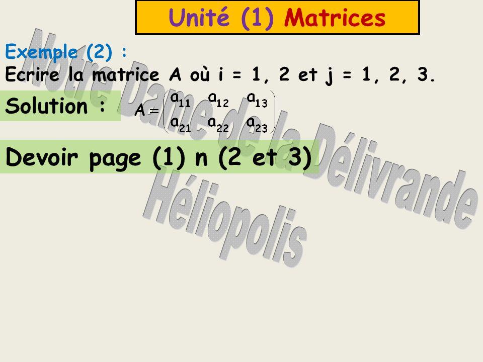 Unité (1) Matrices * 15000 est lélément qui se trouve de la 1 ère ligne (i) et 2 ème colonne (j), on lécrit a 12 * La dimension de la matrice A est 2 x 2.