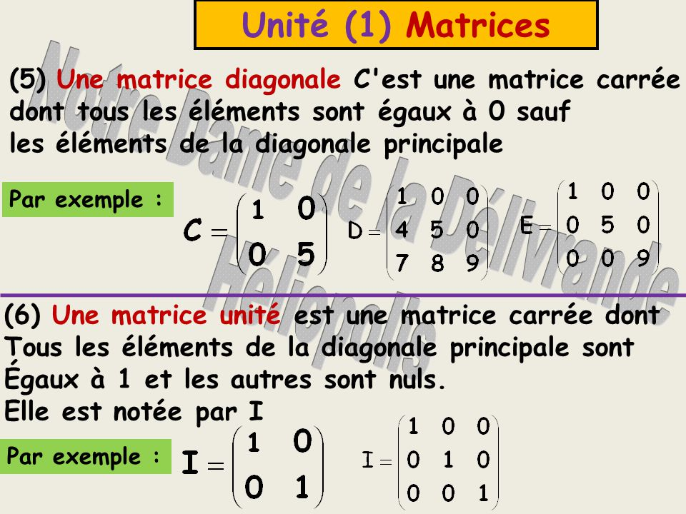 Unité (1) Matrices (5) Une matrice diagonale C est une matrice carrée dont tous les éléments sont égaux à 0 sauf les éléments de la diagonale principale Par exemple : (6) Une matrice unité est une matrice carrée dont Tous les éléments de la diagonale principale sont Égaux à 1 et les autres sont nuls.