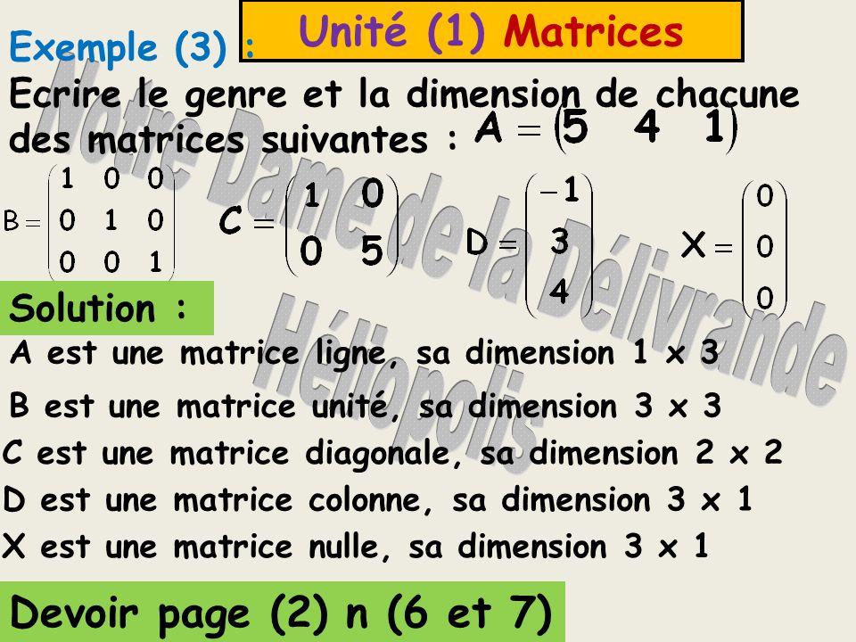 Unité (1) Matrices (5) Une matrice diagonale C'est une matrice carrée dont tous les éléments sont égaux à 0 sauf les éléments de la diagonale principa