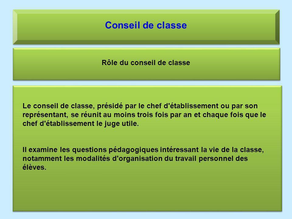 Conseil de classe Rôle du conseil de classe Le conseil de classe, présidé par le chef d'établissement ou par son représentant, se réunit au moins troi