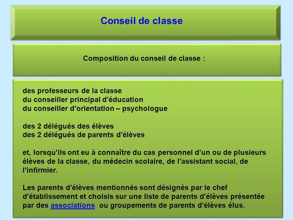 Conseil de classe Composition du conseil de classe : des professeurs de la classe du conseiller principal d'éducation du conseiller d'orientation – ps