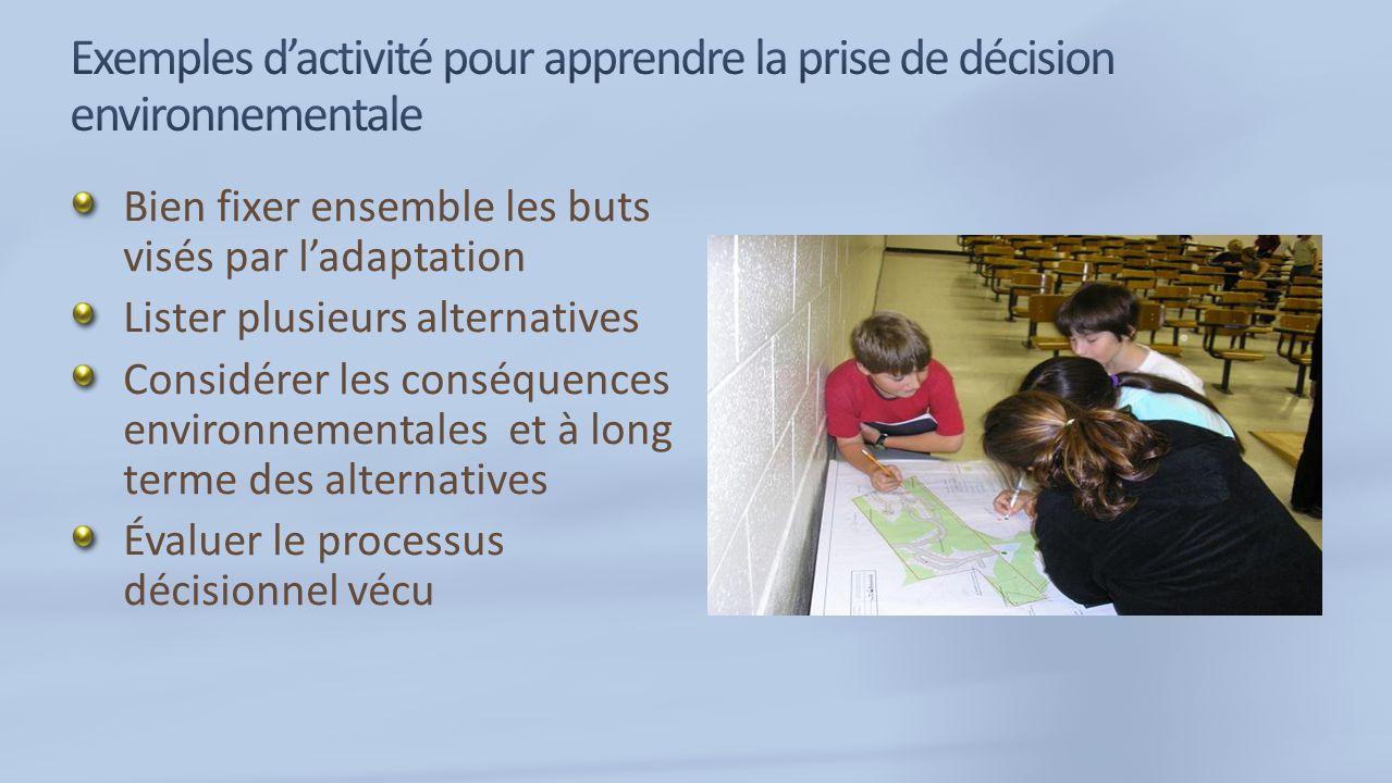 Bien fixer ensemble les buts visés par ladaptation Lister plusieurs alternatives Considérer les conséquences environnementales et à long terme des alternatives Évaluer le processus décisionnel vécu