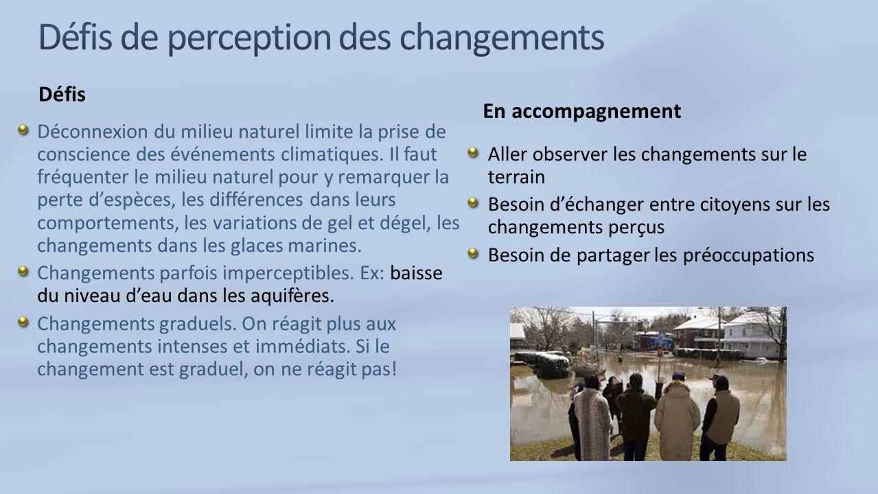 Défis Déconnexion du milieu naturel limite la prise de conscience des événements climatiques.