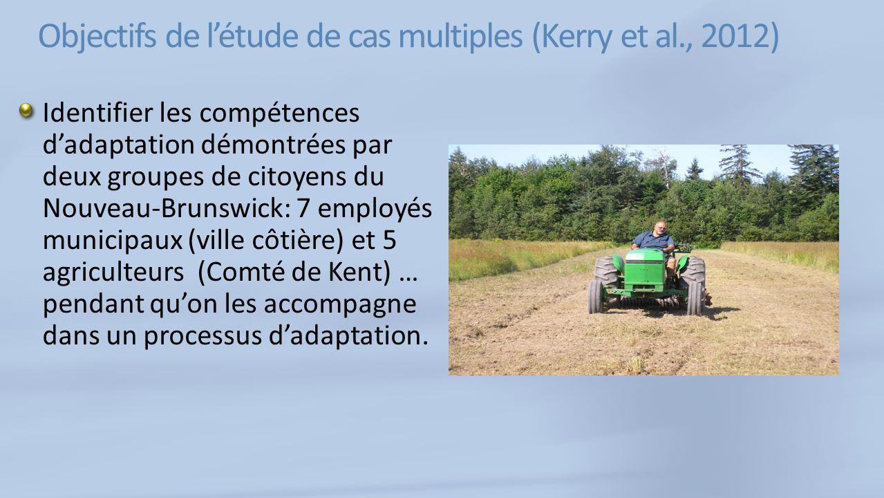 Objectifs de létude de cas multiples (Kerry et al., 2012) Identifier les compétences dadaptation démontrées par deux groupes de citoyens du Nouveau-Brunswick: 7 employés municipaux (ville côtière) et 5 agriculteurs (Comté de Kent) … pendant quon les accompagne dans un processus dadaptation.