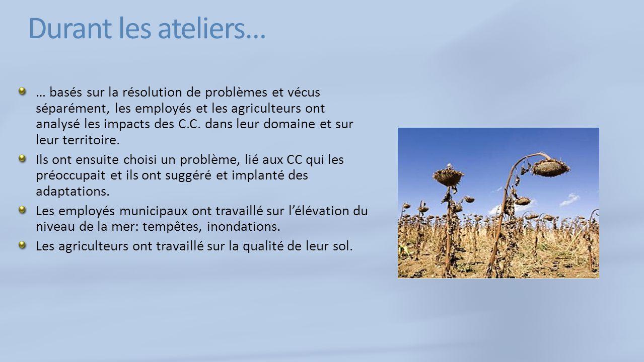 Durant les ateliers… … basés sur la résolution de problèmes et vécus séparément, les employés et les agriculteurs ont analysé les impacts des C.C.