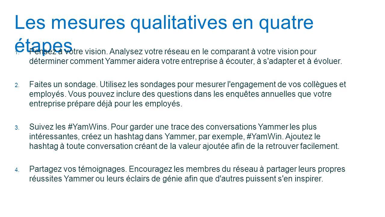 Les mesures qualitatives en quatre étapes 1. Pensez à votre vision. Analysez votre réseau en le comparant à votre vision pour déterminer comment Yamme