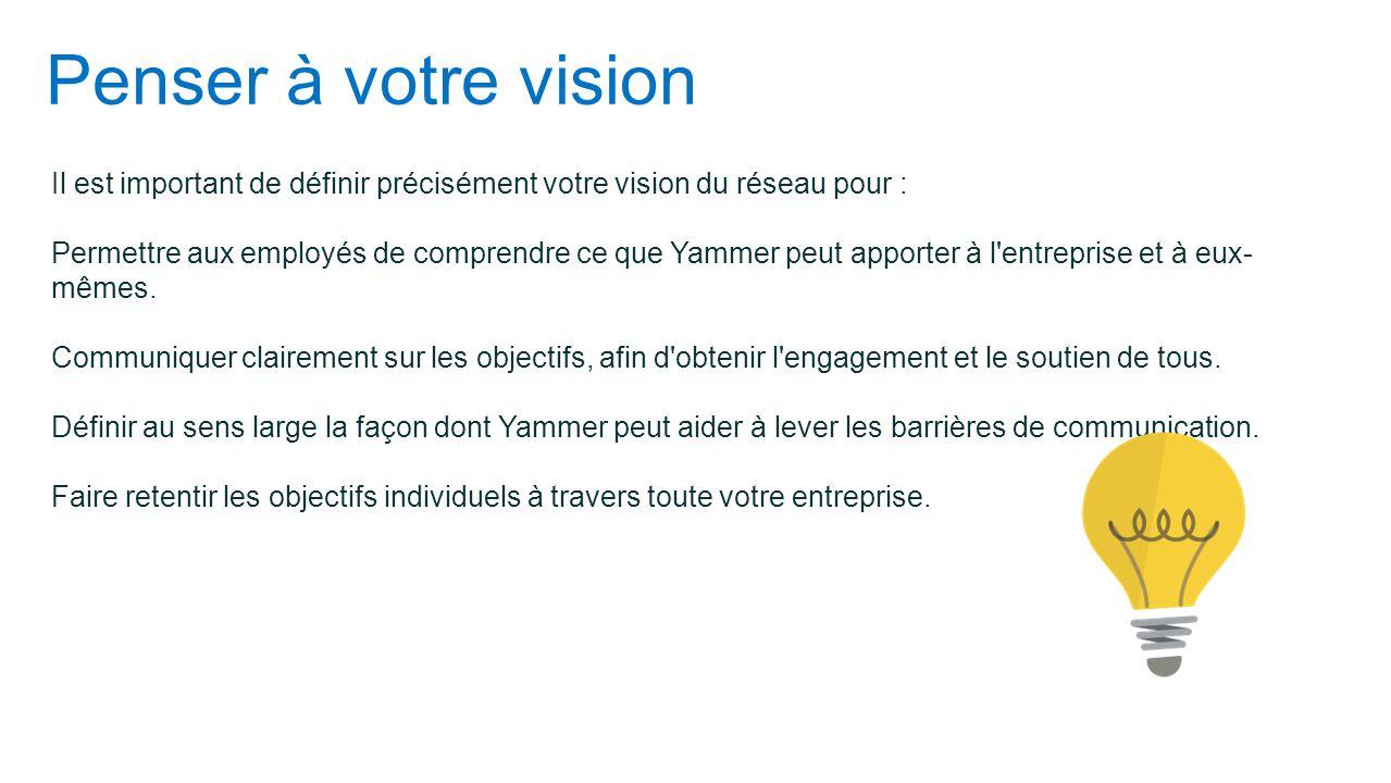 Penser à votre vision Il est important de définir précisément votre vision du réseau pour : Permettre aux employés de comprendre ce que Yammer peut ap