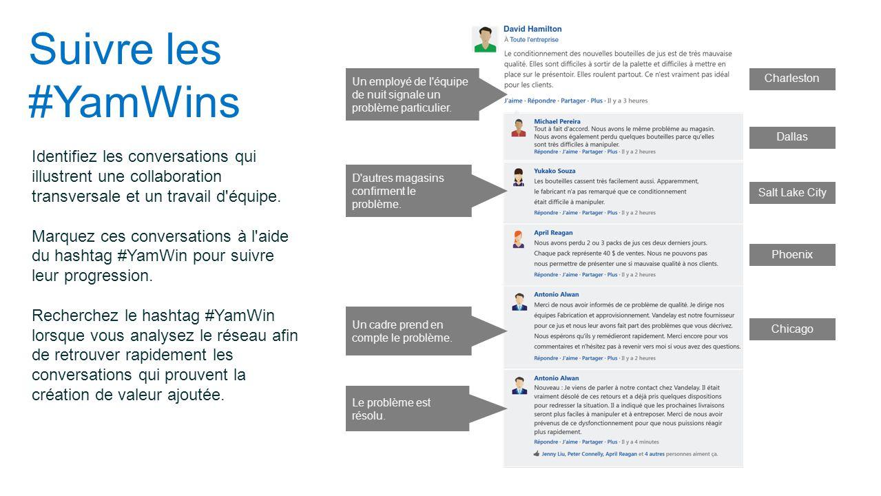 Suivre les #YamWins Identifiez les conversations qui illustrent une collaboration transversale et un travail d'équipe. Marquez ces conversations à l'a