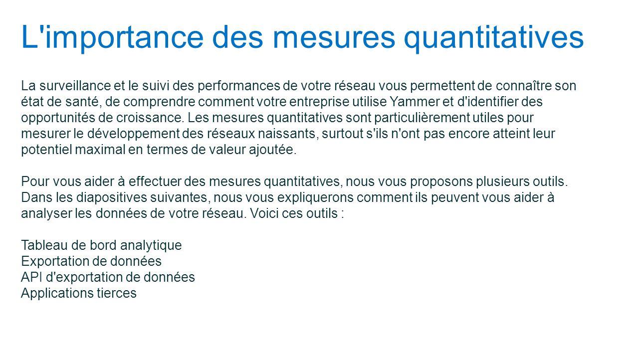 L'importance des mesures quantitatives La surveillance et le suivi des performances de votre réseau vous permettent de connaître son état de santé, de