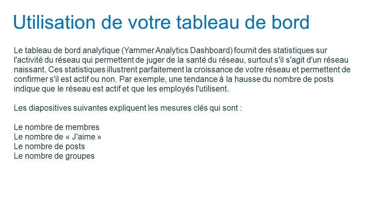 Utilisation de votre tableau de bord Le tableau de bord analytique (Yammer Analytics Dashboard) fournit des statistiques sur l'activité du réseau qui