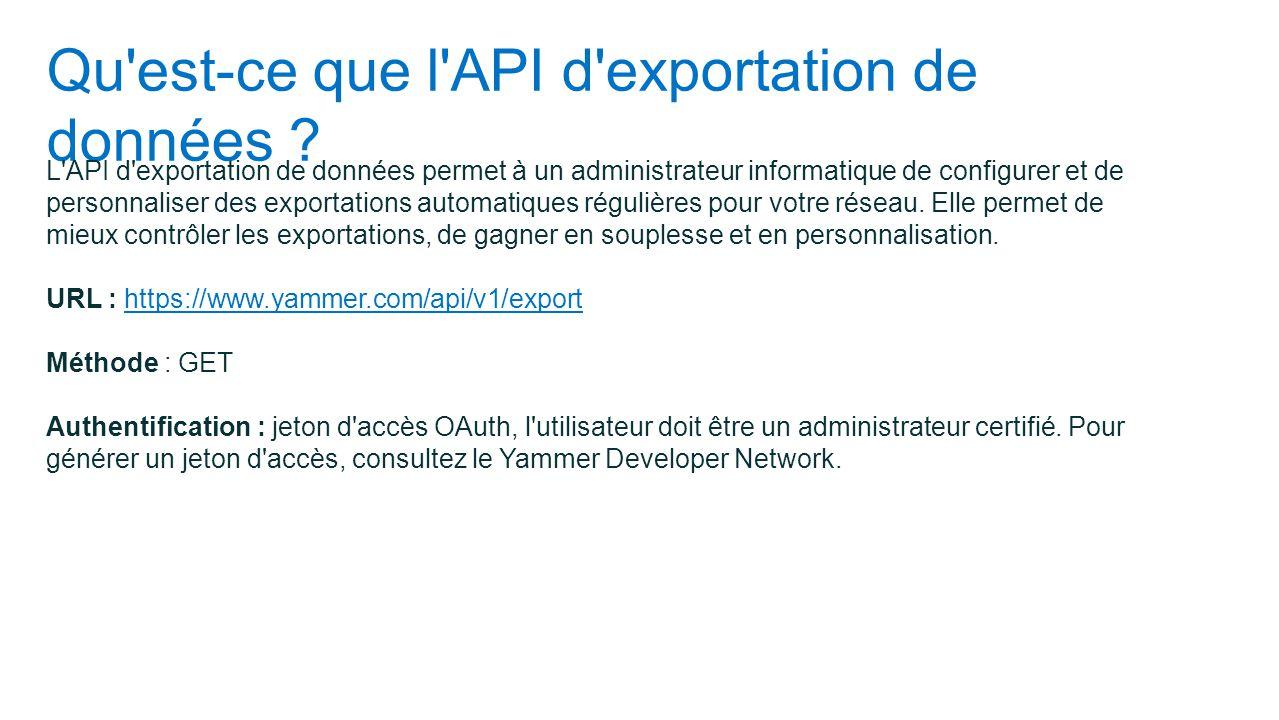 Qu'est-ce que l'API d'exportation de données ? L'API d'exportation de données permet à un administrateur informatique de configurer et de personnalise