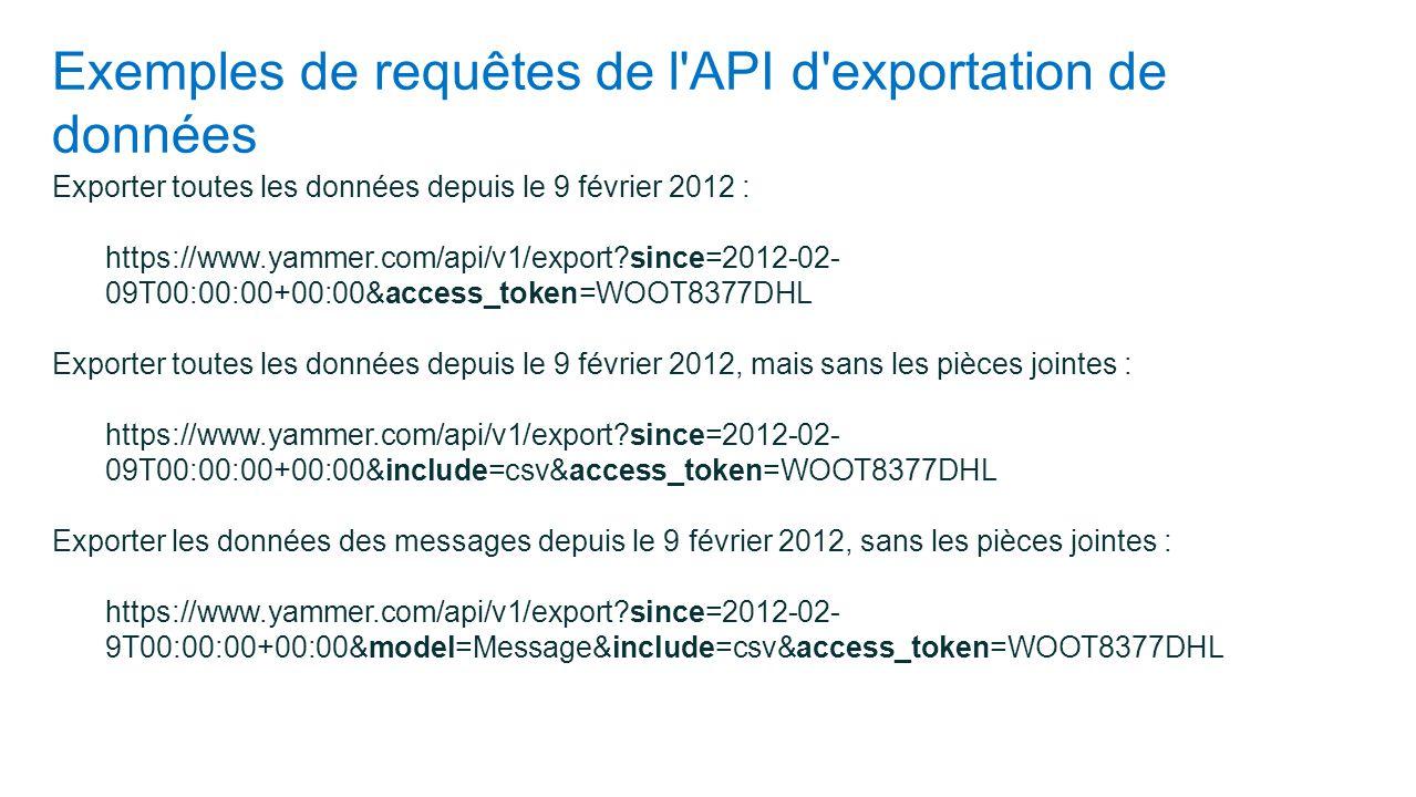 Exemples de requêtes de l'API d'exportation de données Exporter toutes les données depuis le 9 février 2012 : https://www.yammer.com/api/v1/export?sin