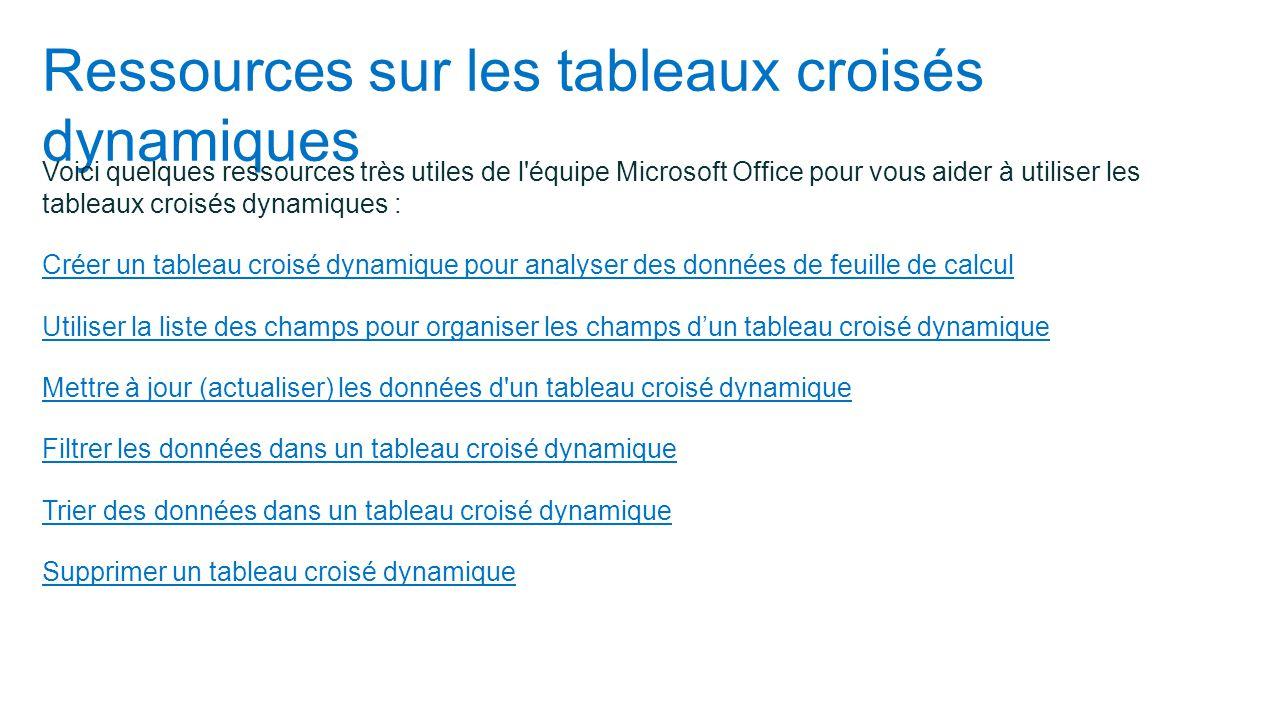 Ressources sur les tableaux croisés dynamiques Voici quelques ressources très utiles de l'équipe Microsoft Office pour vous aider à utiliser les table