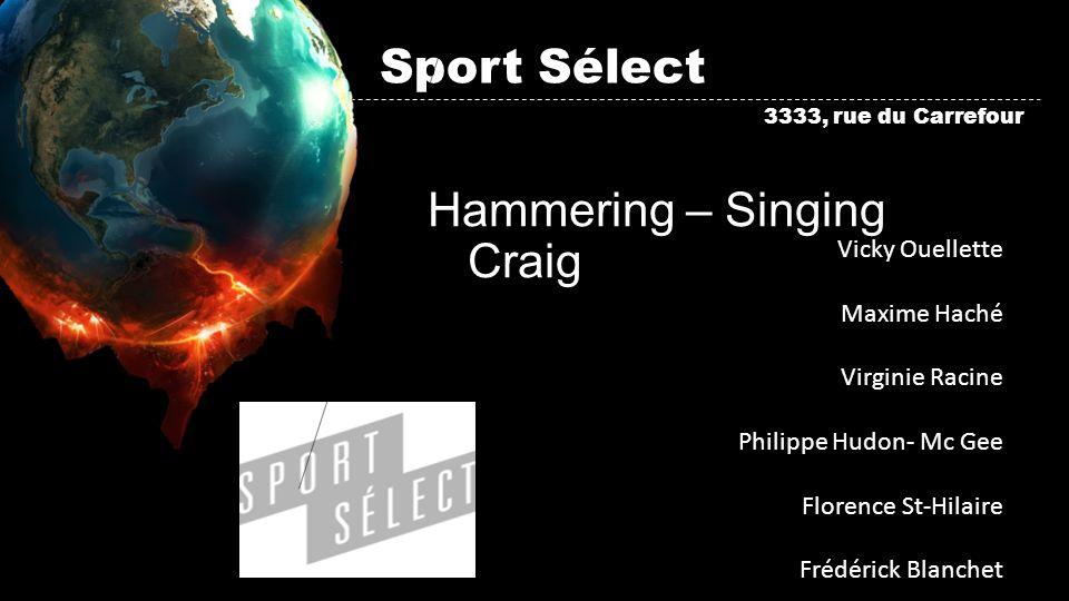 Sport Sélect Hammering – Singing Craig 3333, rue du Carrefour Vicky Ouellette Maxime Haché Virginie Racine Philippe Hudon- Mc Gee Florence St-Hilaire