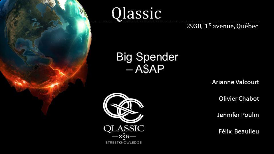 Qlassic Big Spender – A$AP Arianne Valcourt Olivier Chabot Jennifer Poulin Félix Beaulieu 2930, 1 E avenue, Québec