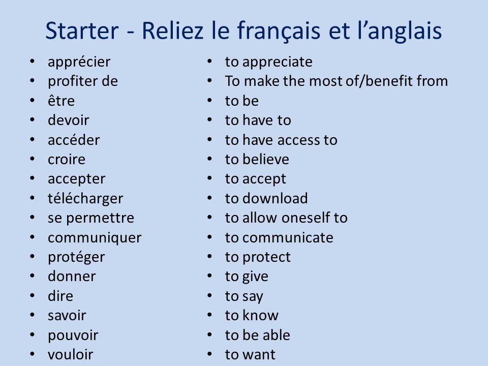 Starter - Reliez le français et langlais apprécier profiter de être devoir accéder croire accepter télécharger se permettre communiquer protéger donne