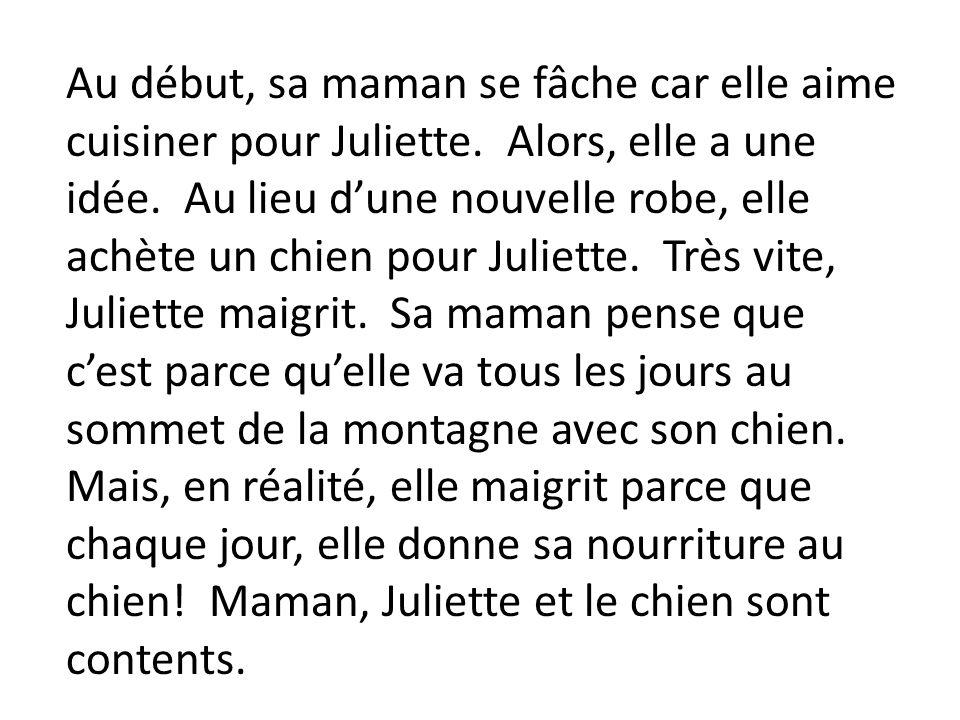 Au début, sa maman se fâche car elle aime cuisiner pour Juliette. Alors, elle a une idée. Au lieu dune nouvelle robe, elle achète un chien pour Juliet