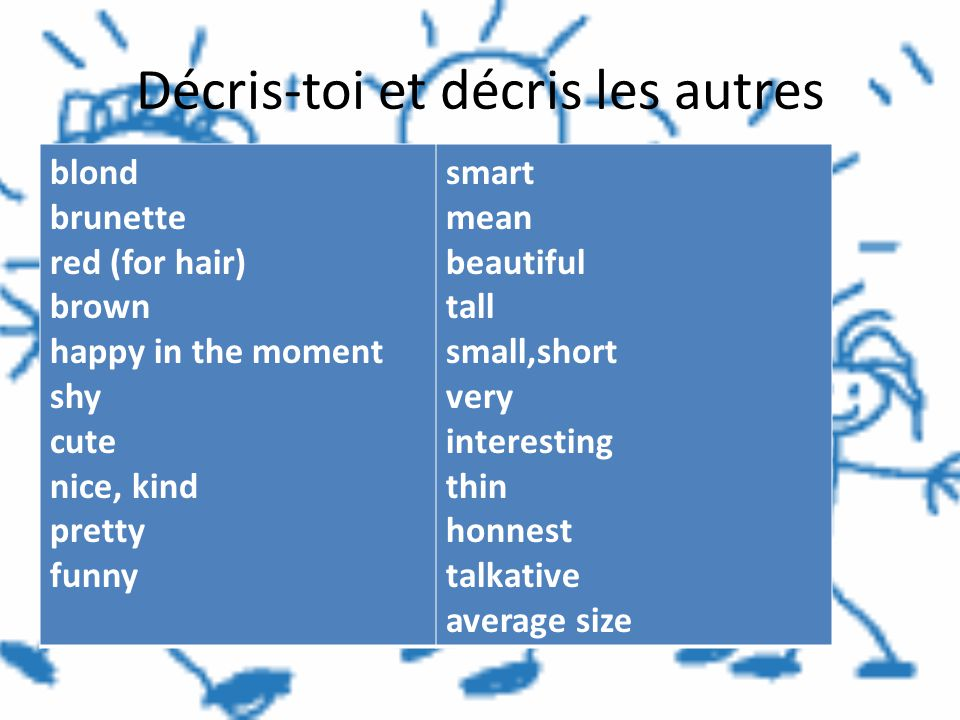 Décris-toi et décris les autres blond brunette red (for hair) brown happy in the moment shy cute nice, kind pretty funny smart mean beautiful tall sma