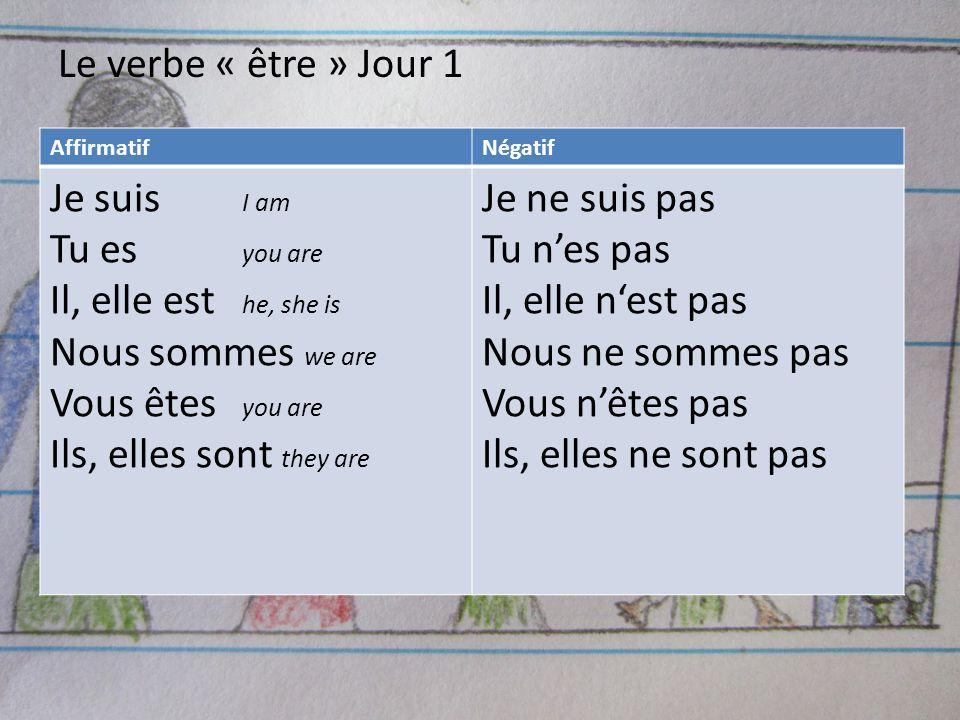 Le verbe « être » Jour 1 AffirmatifNégatif Je suis I am Tu es you are Il, elle est he, she is Nous sommes we are Vous êtes you are Ils, elles sont the