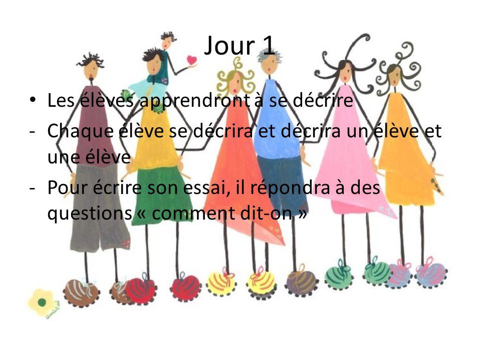 Jour 1 Les élèves apprendront à se décrire -Chaque élève se décrira et décrira un élève et une élève -Pour écrire son essai, il répondra à des questio