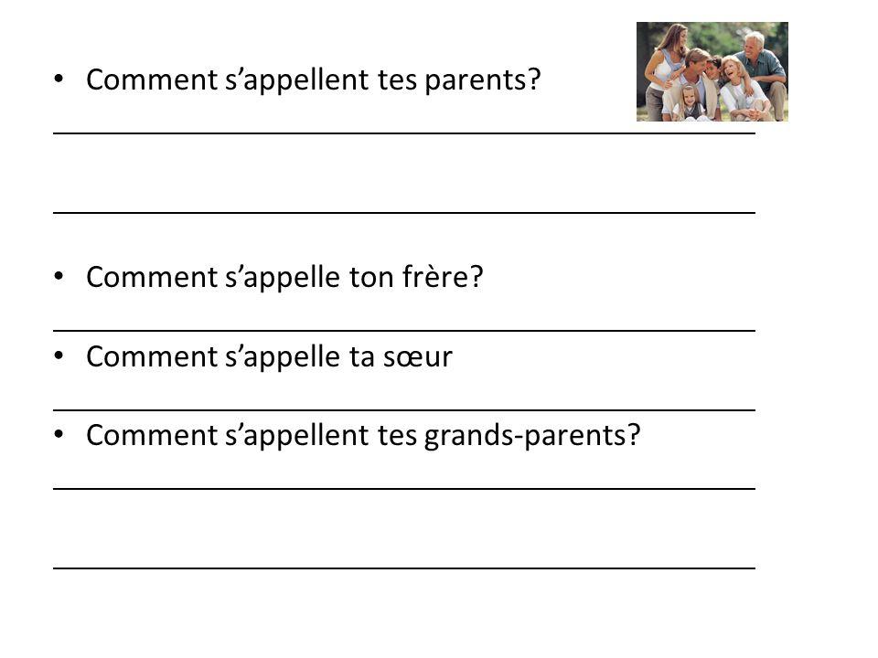 Comment sappellent tes parents? Comment sappelle ton frère? Comment sappelle ta sœur Comment sappellent tes grands-parents?
