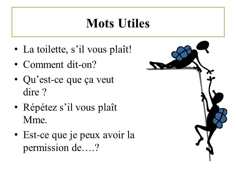 Mots Utiles La toilette, sil vous plaît.Comment dit-on.