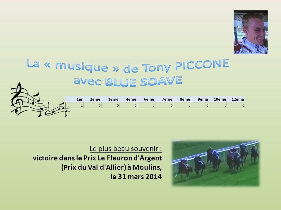 1er2ème3ème4ème6ème7ème8ème9ème10ème12ème Le plus beau souvenir : victoire dans le Prix Le Fleuron d Argent (Prix du Val d Allier) à Moulins, le 31 mars 2014 1000000000