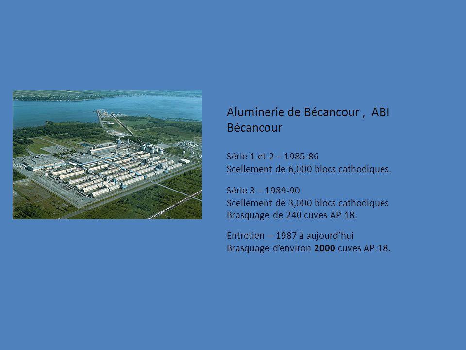 Aluminerie de Bécancour, ABI Bécancour Série 1 et 2 – 1985-86 Scellement de 6,000 blocs cathodiques.