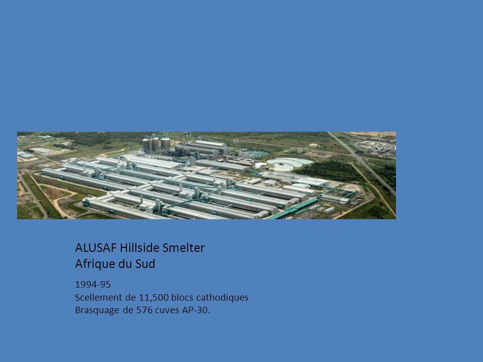 ALUSAF Hillside Smelter Afrique du Sud 1994-95 Scellement de 11,500 blocs cathodiques Brasquage de 576 cuves AP-30.