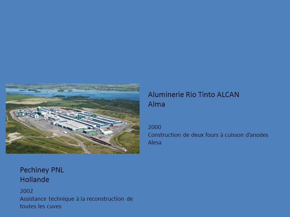 2000 Construction de deux fours à cuisson danodes Alesa Aluminerie Rio Tinto ALCAN Alma Pechiney PNL Hollande 2002 Assistance technique à la reconstru
