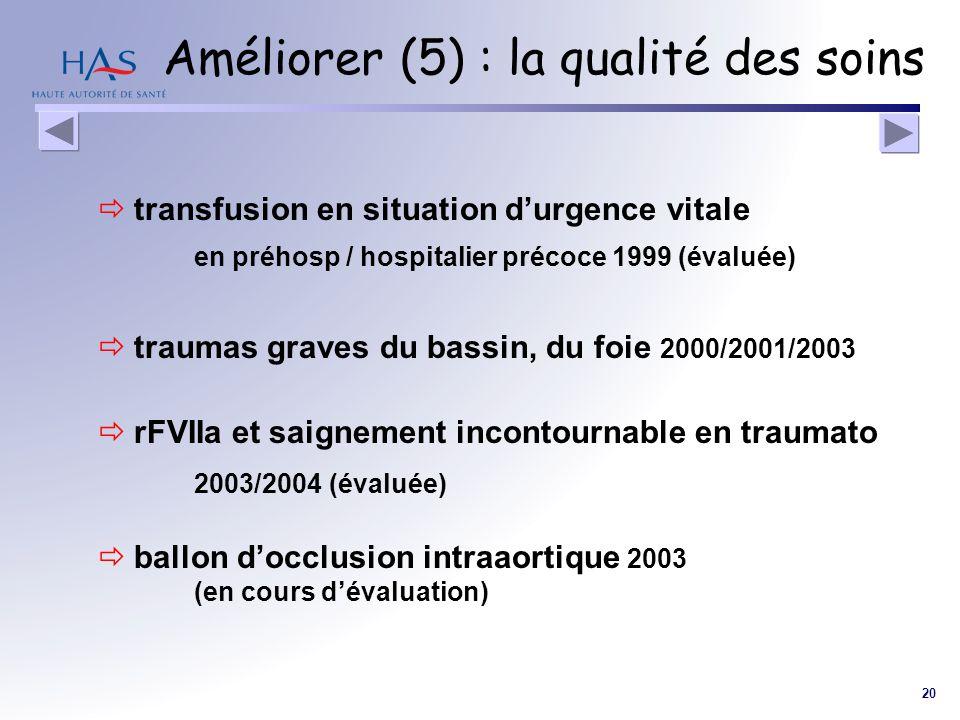 20 Améliorer (5) : la qualité des soins transfusion en situation durgence vitale en préhosp / hospitalier précoce 1999 (évaluée) traumas graves du bas