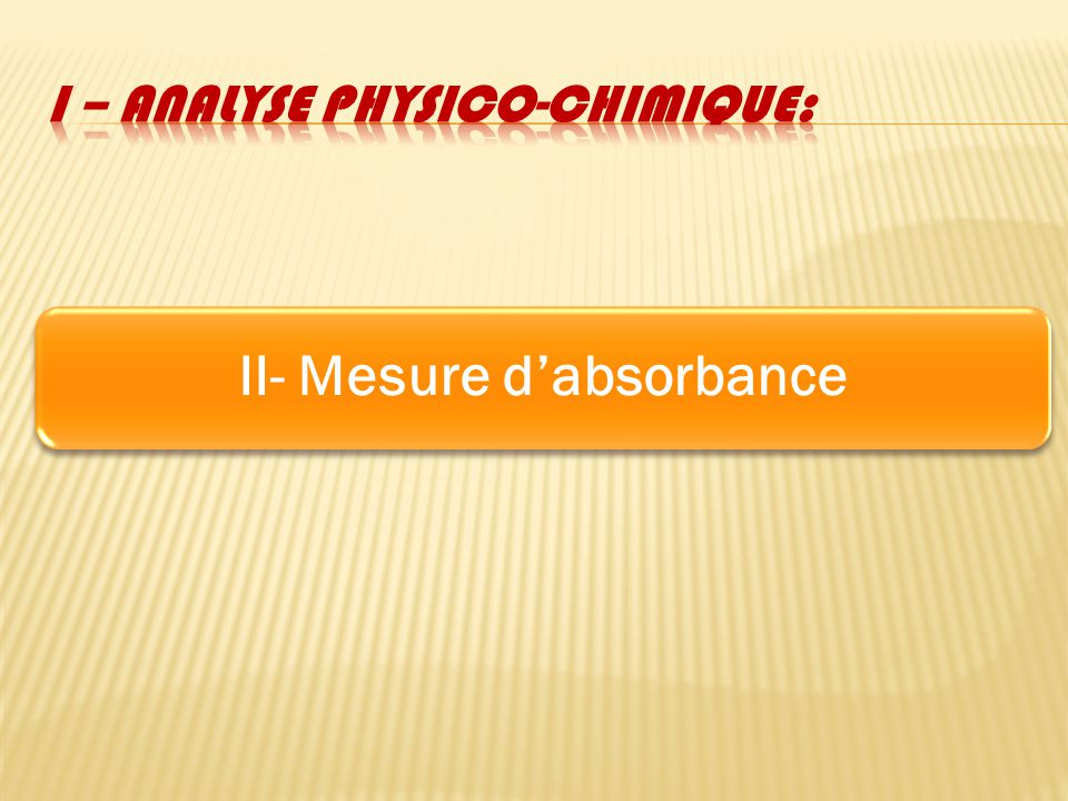 II- Mesure dabsorbance