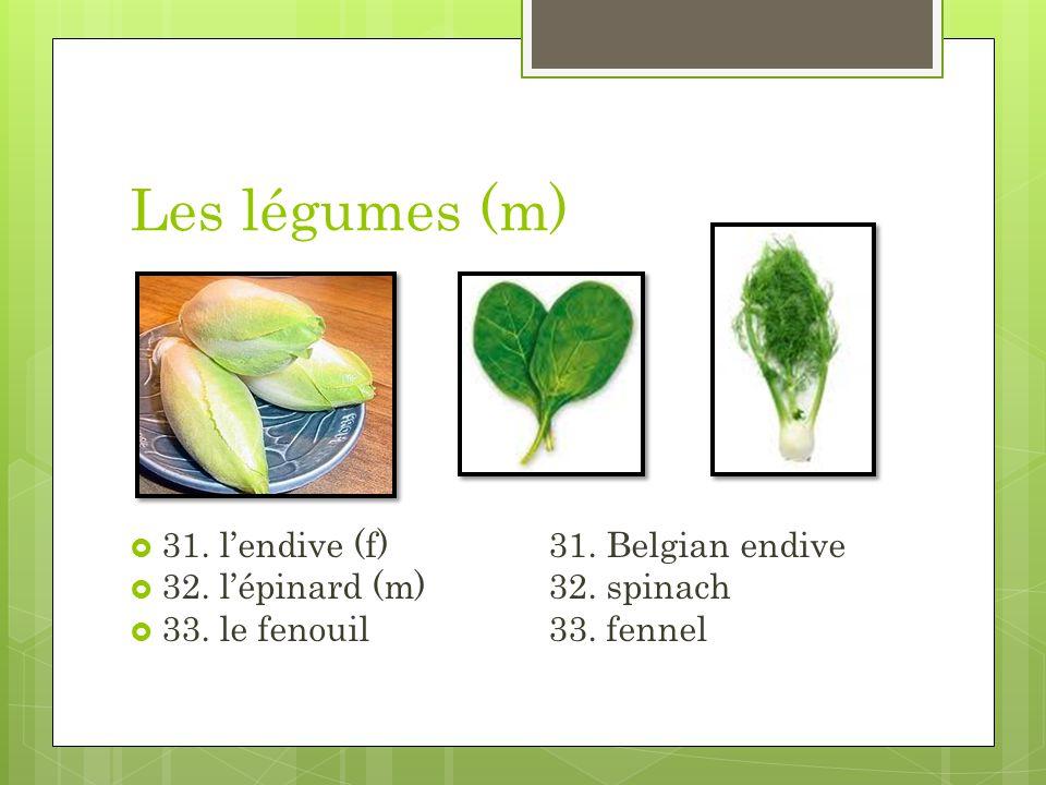 Les légumes (m) 31. lendive (f)31. Belgian endive 32. lépinard (m)32. spinach 33. le fenouil33. fennel