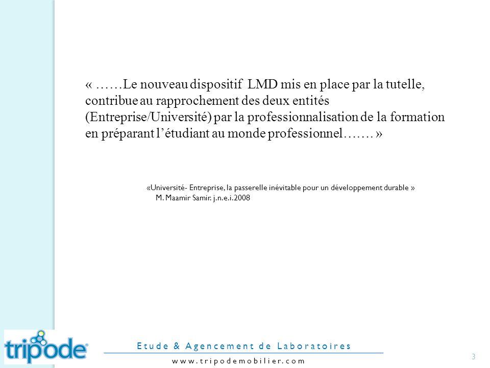 « ……Le nouveau dispositif LMD mis en place par la tutelle, contribue au rapprochement des deux entités (Entreprise/Université) par la professionnalisation de la formation en préparant létudiant au monde professionnel…….