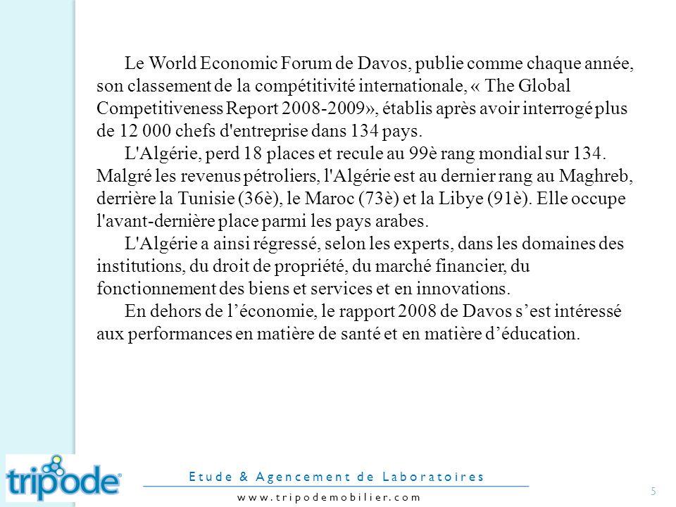 Le World Economic Forum de Davos, publie comme chaque année, son classement de la compétitivité internationale, « The Global Competitiveness Report 2008-2009», établis après avoir interrogé plus de 12 000 chefs d entreprise dans 134 pays.